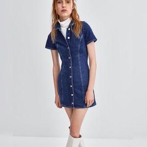 {zara} denim jean dress